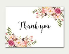 Thank you Card Floral Thank You Card Wedding Thank You