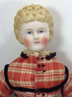 Antique German Bisque Parian Head Doll Fancy Hair 19Thc Leather Arms Original