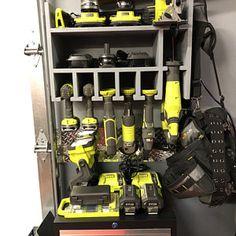 Cordless Drill Organizer | Etsy Power Tool Storage, Garage Tool Storage, Power Tools, Garage Workshop Organization, Storage Organization, Storage Ideas, Shop Storage, Organizing Ideas, Porter Cable Tools