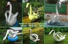 Bello cisne jardinera de neumatico reusado