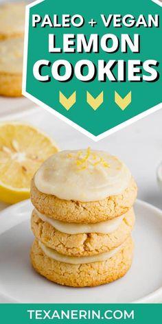 Gluten-free Lemon Cookies (vegan, paleo) - Texanerin Baking Gluten-free lemon cookies that are also Paleo Cookie Recipe, Paleo Cookies, Lemon Cookies, Gluten Free Cookies, Gluten Free Desserts, Yummy Cookies, Baking Cookies, Keto Desserts, Cookie Recipes