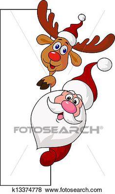 Santa clause and deer with blank si Clip Art Christmas Drawing, Christmas Paintings, Santa Claus Drawing, Christmas Crafts, Christmas Decorations, Christmas Images, Deer Cartoon, Santa Face, Elf Face