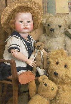 poupée 1920   Bébé de caractère boudeur de fabrication SFBJ-france, ours en ...