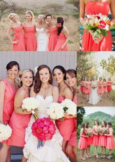 bridesmaid dresses  robe de demoiselle d'honneur corail/coral