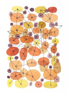 connecting the dots giclee print abstract painting watercolor painting Orange Home decor  circles