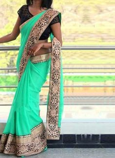 Turquoise Embroidery Work Georgette Fancy Net Designer Sarees http://www.angelnx.com/featuredproduct