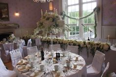 The Exquisitely Elegant Soft Green & Ivory Wedding Day of Rebecca & Matthew At The Swan Newby Bridge Ivory Wedding, Floral Wedding, Wedding Day, Crystal Candelabra, Centre Pieces, Flower Bouquet Wedding, Flower Designs, Tablescapes, Hanging Gardens