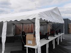 one of our 6m wide marquees on top of a roof in london