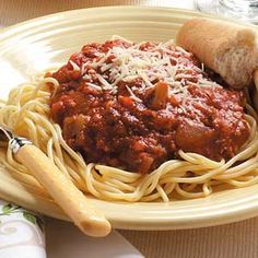 "Homemade Spaghetti Sauce Recipe -Lean turkey sausage links spice up this hearty sauce that turns pasta into a splendid main dish. ""I blend a cup of the sauce for my young son, so there are no chunks of vegetables, and he loves it,"" says Laurinda Johnston, a field editor in Belchertown, Massachusetts."