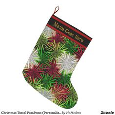 Christmas Tinsel PomPoms (Personalized) - The original design on this custom-made Christmas Stocking portrays a blizzard of flower like PomPoms made of tinsel in red, green & white. Topped w/a black border & contrasting red bands plus a customizable text field for recipient's name. Get into the holiday spirit w/ HoMeArts & IconDoIt's festive Mix & Match Christmas decorating accessories @ www.zazzle.com/icondoit+christmas+gifts?rf=238155573613991097&tc=pnt