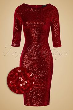 This50s Twinkle Sequin Pencil Dressis a real eye-catcher!  Such a stunner! This fitted beauty features a classy round neckline, 3/4 sleeves and a lovely velvet fabric, covered with little sparkling sequins for a jaw dropping look! The dark red fabric feels nice and soft and hugs your curves in all the right ways.Twinkle, twinkle, little star what a stunning beauty you are!   High round neckline 3/4 sleeves Fully lined Hidden zipper at the back Hits above the knee at a ...
