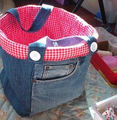 reused jean bag cute !