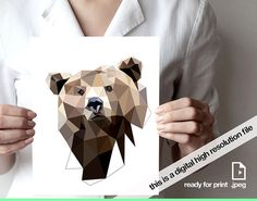 Title: bear printable digital version This listing include one digital file (.jpeg) in size 11x14 inches  **PRINTABLE POSTER INSTANT DOWNLOAD**  11x14 inches High Resolution .jpeg file  **IMPORTANT: No physical item will be shipped. You are purchasing a high resolution digital file.** TERMS OF USE: You may use this image only for personal or gift use, not for resale.  WHY BUY A DIGITAL INSTEAD PHISICAL?  Print yourself! when you want, Print more than once to give as gift print size what you…
