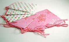 Pink Holidays GIFT TAGS  set of 6 skinny cards by PaperUlixis, $3.30