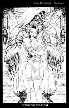 here is the scanned page. J-Scott-Campbell made the very sexy lineart. After meeting Jeffrey in Calgary last month, and considering he is . Beauty and the Beast Inks Adult Coloring Book Pages, Disney Coloring Pages, Colouring Pages, Coloring Books, Fairy Coloring, Desenho Tattoo, Bd Comics, Fantasy Artwork, Erotic Art