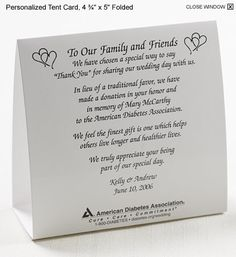 As much as everyone loves getting chocolates, CDs, and matches as wedding favors, there is something heartwarming when you see that the couple has made a donation to a charity in your name. Description from blairmillinn.wordpress.com. I searched for this on bing.com/images