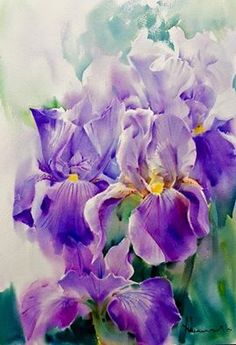 """Blooming""""  Demo, Watercolor on paper, 55 x 75 cm, Hydrangeas, 2015.      Iris (National flower of France)  Watercolor on paper, 51 x 3..."""