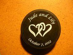 Custom hockey puck wedding favor. So cute!