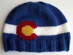 Knit Colorado Flag Beanie with Ribbed Brim by ShortKnits on Etsy Mountain Hat, Knit Mittens, Knitting Projects, Fiber Art, Headbands, Knit Crochet, Colorado, Flag, Beanie