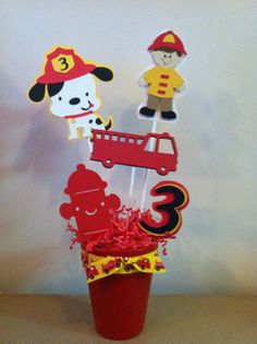 Fire fighter table decoration by Mycraftyloft on Etsy, $15.00