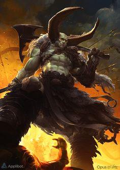 Artist: Bjorn Hurri (Opus Artz) - Title: Crazed God - Card: Bardem, Wrath of Hades