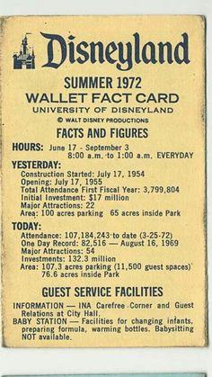vintage disneyland wallet fact card c.1972 -