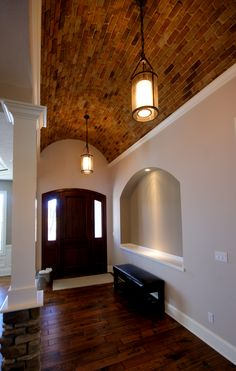 Barrel Rolled Brick Ceiling with crown on sides House Design, Brick Archway, New Home Construction, Mexico House, New Homes, Ceiling Design, Hacienda Homes, Barrel Ceiling, Rustic House