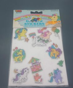 My Little Pony Glittery Puffy Stickers on Sheet in Original Packet 1985 RARE… My Childhood Memories, Childhood Toys, My Little Pony Stickers, Vintage My Little Pony, My Little Pony Merchandise, 80s Kids, Old Toys, Sticker Design, Vintage Toys