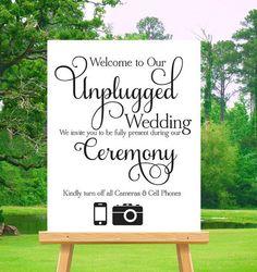 Printable Unplugged Wedding Sign-Unplugged by WrittenInPinkStudios