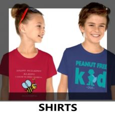 Lil Allergy Advocates:  Shop our personalized allergy alert shirts for your child. Customize with names and allergens and choose from a variety of colors, styles and designs.