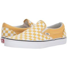 Vans Classic Slip-Ontm ((Checkerboard) Ochre/True White) Skate Shoes ($50) ❤ liked on Polyvore featuring shoes, sneakers, slip-on sneakers, white leather shoes, vans shoes, slip on boat shoes and white boat shoes