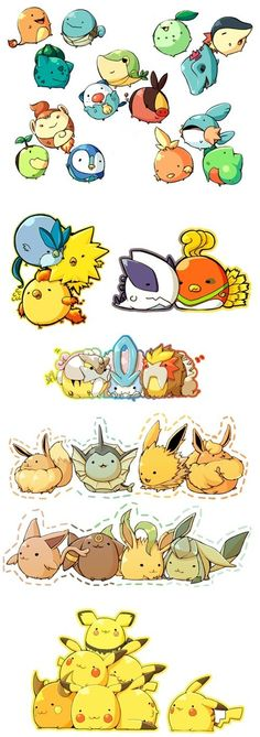 Pokémon are so cute when they're chubbified cuuuute chibi pokemon! Pokemon Mono, Mega Pokemon, Cool Pokemon, Pokemon Stuff, Baby Pokemon, Pokemon Couples, Pokemon Memes, Kawaii, Video Minecraft