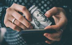 Scarica sfondi soldi in una borsa, dollari, soldi, finanza concetti, il denaro, il portafoglio