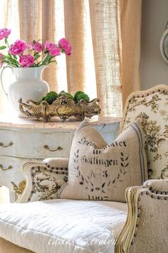Toile and Rustic Linen Chair I LIKE THE PILLOW and the White Pitcher with pink roses.  KAY