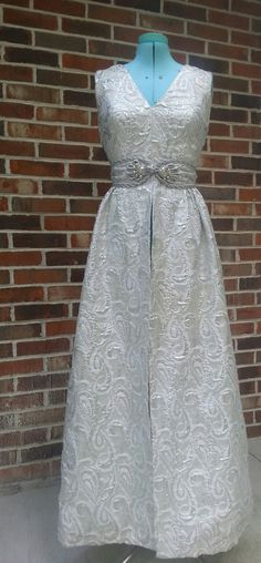 1950's 1960's Metallic Silver Tapestry Formal Overdress Glam Elegant Brocade Size Small by dollybirdvintage on Etsy