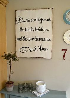 """Blessing"" wood 24x30 {customizable} Dinning Room Table Rustic, Christmas Dinning Table Decor, Dining Room Hutch, Dining Table, Barn Wood, Pallet Wood, Pallet Signs, Wood Signs, Pallet Ideas"