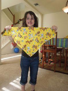 Making bandanas to donate to an animal shelter.  Teach children to serve.  http://penniesoftime.blogspot.com/