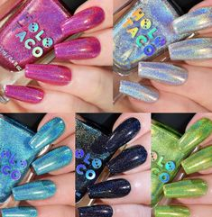 Nails: Holo Taco Electric Holos Collection Releases With New Shimmer Nail Polish Holo Taco by Simply Nailogical has just released their new Electric Holos Nail Polish Collection — which features 5 new shimmering / holographic finish nail colors. The new nail polish shades included in the Holo Taco Electric Holos Collection are: Hot-Wire Pink (hot magenta), Electrostatic (midnight black), Hydropower (bright aqua blue), Circuit Breaker (silver holographic), and Full Charge (lime green)... Nails, Makeup, Beauty, Finger Nails, Make Up, Ongles, Beauty Makeup, Beauty Illustration, Nail