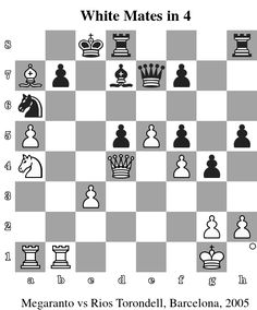 White Mates in 4. Megaranto vs Rios Torondell, Barcelona, 2005 www.chess-and-strategy.com #echecs #chess #jeu #ecole #logique