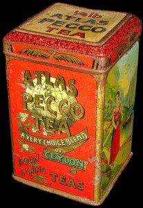 "Atlas Pecco Tea tin ... gold lettering on world globe with slogan ""A Very Choice Blend of Ceylon Teas"", and Ceylon [Sri Lanka] tea garden/plantation scenes on sides and name of Dutch packer, c. 1900, The Netherlands/Holland"