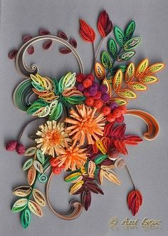 Autumn arrangement #2 - by: Anisoara - Ro http://anisoaracreative.blogspot.ro/2014/10/quilling-autumn-2.html