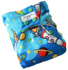 Rocket Ships Blue One Size Cloth Diaper with PUL Snaps Bamboo Organic Cotton - Newborn Toddler Boys