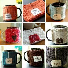 Coffee cozy, with tag