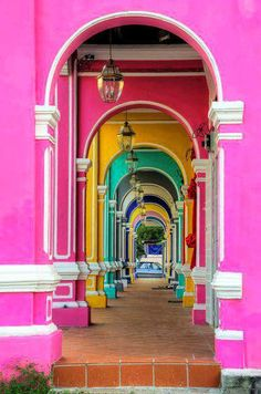 Colorful passage in George Town, Penang. Walked through this very passage numerous times. Miss George town! Colors Of The World, Kuala Lumpur, Beautiful World, Beautiful Places, Color Of Life, Belle Photo, The Places Youll Go, Rainbow Colors, Bright Colors