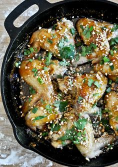 One Skillet Sticky Thai Chicken Wings -- i'm going to totally make this sauce (maybe a veggie stir-fry type thing) and skip the chicken all together!