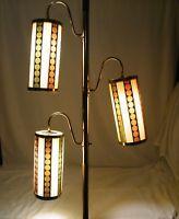 1960s MID CENTURY MODERN CYLINDER TENSION POLE LAMP 3 LIGHT FLOOR RETRO ATOMIC