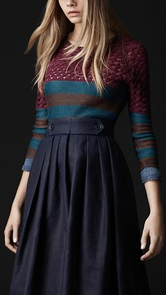 Burberry Contrast Woven Sweater & Pleat Front Heritage Skirt