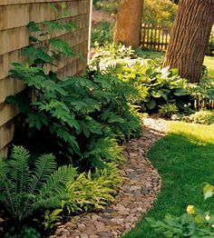 River rock path: Glorious Garden Paths Add Curves Curving lines please the eye more than straight lines. They also help an area, such as a narrow side yard, feel larger. Lawn And Garden, Garden Paths, Border Garden, Garden Edging, Garden Bed, Rock Border, My Secret Garden, Shade Garden, Dream Garden