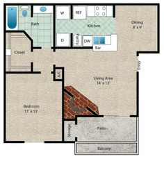 Barbados Floor Plan - 1 Bath with approximately 671 square feet. Notice the extra large walk in closet and corner fireplace! Lakeside Dining, University Of Houston, Clear Lake, Contemporary Apartment, Two Bedroom Apartments, Small House Plans, Barbados, Square Feet, Night Life