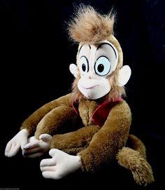 "Vintage ORIGINAL 1992 Disney ALADDIN ABU 17"" Plush Monkey Mattel Vest & Fez…"
